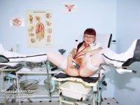 Olga midle aged milf nurse cunt plastic penis masturbation on gynochair