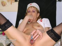 Senior nurse Nora gaping her perverted pussy wide