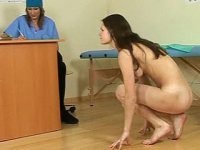 Sweating naked physical exam. Female doc makes a nude sport examination