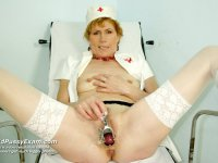 Mila mature old nurse hole latex cock masturbation on gynochair