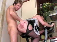Full-bodied mature French maid getting anally done on the fitness machine