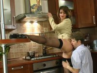 Sexy housewife gets her butt licked and drilled in every way in the kitchen