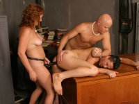 Chubby redhead ass banging two bisexual dudes with a strapon dildo then gets pussy pumped