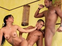 Sexy black bisexual men fucking a horny brunette