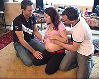 Pregnant slut gets double-teamed by two horny lovers while her husband is at work