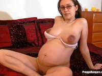 Nerdy Pregnant Amateur with Huge Nips