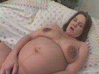 Sex starved brunette preggo fingering herself naked wanted to be fucked.