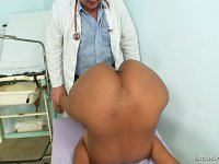 Manuela afraid of gyno pussy spreader exam on gynochair at clinic