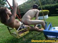 Instead of swings lewd shemale prefers pushing her dick up guy\'s tight ass