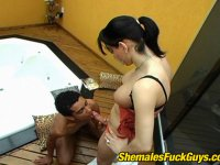 Naughty shemale mastering her skills in guy\'s ass-ploughing in doggystyle