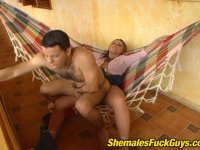 Slutty shemale seducing sizzling hot guy into outrageous fucking in hammock