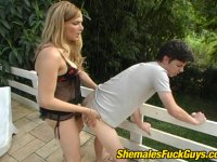 Steaming hot shemale feels like cramming her guy\'s yummy ass by the pool