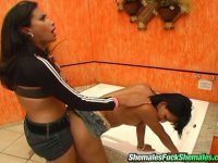 Lewd shemale throwing her butt on her friend shemale\'s cock in the bathroom