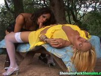 Steaming hot shemale babes know the best way of ass-pounding in the forest