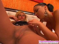 Horny shemale and cute gal enjoying luxury hosiery before doggystyle frenzy