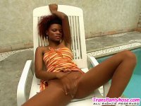 Red hot shemale fucking from behind without taking off her black pantyhose