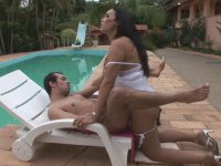 Sex-crazy tranny in lacy pantyhose seducing guy into screwing by the pool
