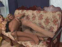 Steamy suck-n-fuck bout with insatiable dick-girl in soft silky pantyhose