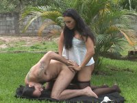 Sweltering shemale in black pantyhose taking the most from fucking picnic