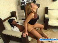 Ebony shemale and spicy chick trying out various positions for fuck-n-suck