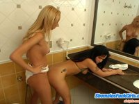 Hot shemale taking the most from her dual nature in dirty games with cutie