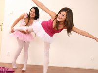 Hot and naughty teen lesbians ballerinas playing with toys
