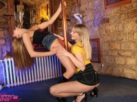 Stripper pole teen cuties licking each others pussy and toys