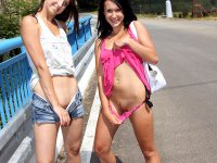 Teen lesbians in public lick and finger their friends pussy