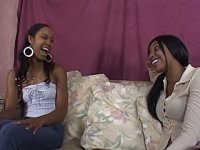 Young black lesbians get naked so they both can slide their tongues and their toys inside of their holes