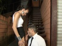 Dark-haired dick-girl nails down her neighbor plowing his ass by the stairs