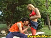 Cock-starving guy giving shemale a great blowjob craving for messy facial