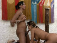 Mischievous chick milks a hung shemale with her mouth and her soaking pussy